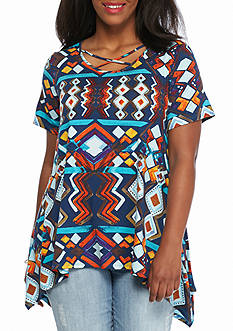 New Directions Plus Size Crisscross Neckline Printed Top