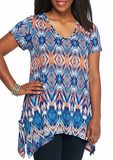 New Directions Plus Size Mixed Print Top