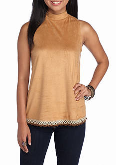 Red Camel Suede Mock Neck Tank