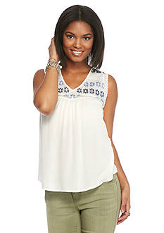 Red Camel Button Back Embroidered Tank