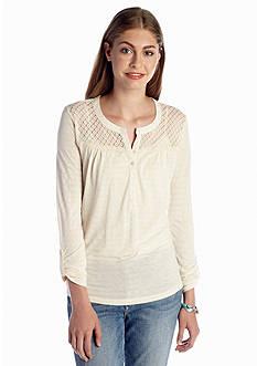Red Camel® Crochet Yoke Stripe Top