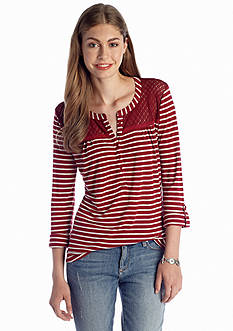 Red Camel® Crochet Yoke Stripe Top