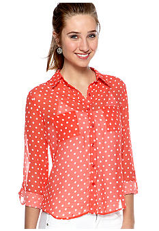 Red Camel Roll Sleeve Polka Dot Shirt