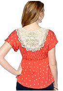 Red Camel® Crochet Back Babydoll Top