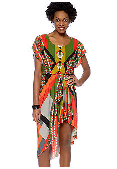 Hi-Lo Geometric Print Dress