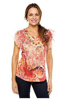Madison Petite Butterfly Sleeve Printed Top
