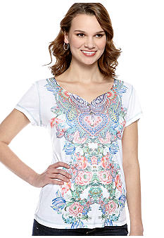 New Directions Weekend Printed Yoke Henley Top