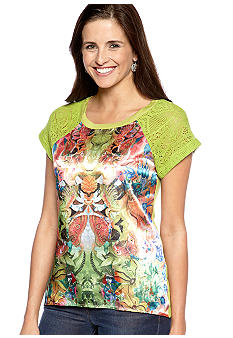 New Directions Weekend Short Crochet Sleeve Photo Panel Top