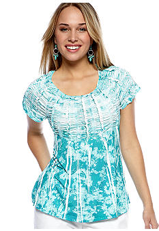 New Directions Weekend Petite Smocked Sublimated Top