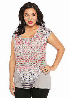 New Directions Weekend Plus Size Stripe Trapeze Tee