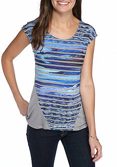 New Directions Weekend Relaxed Knit Stripe Printed Top
