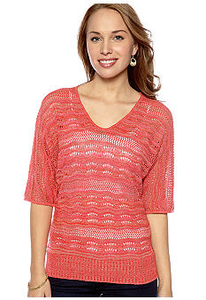 New Directions Petite Short Dolman Sleeve Pointelle Sweater