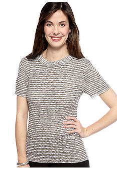 New Directions Petite Short Sleeve Sweater with Faux Pockets