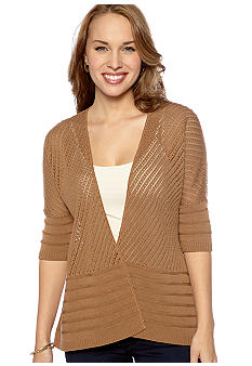 New Directions® Petite Mix Stitch Open Cardigan