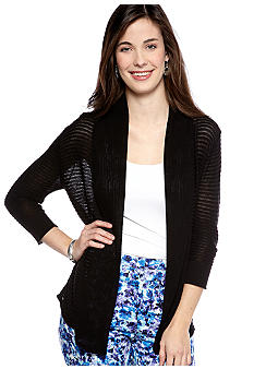 New Directions Petite Sheer Stripe Cozy Cardigan