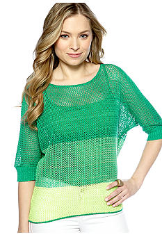 New Directions Ombre Mesh Pop Over Sweater