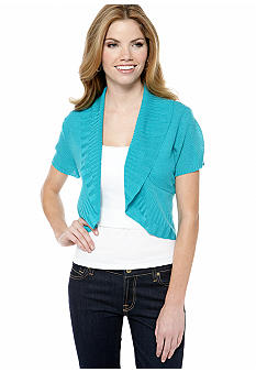 New Directions Petite Short Sleeve Shawl Collar Shrug