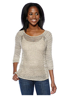 New Directions Petite Marled Pointelle Sweater