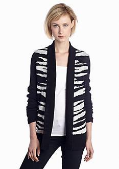 New Directions® Zebra Pattern Cardigan