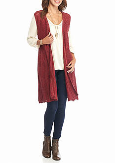 New Directions Marled Pointelle Vest