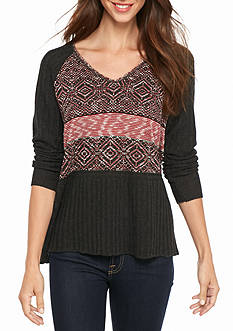 New Directions Textured Raglan Sweater