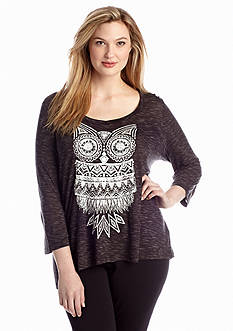 New Directions® Plus Size Owl Screen Print Top