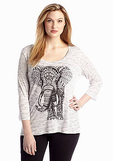 New Directions® Plus Size Elephant Screen Print Top
