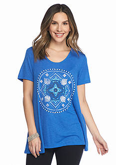 New Directions Weekend Mesh Back Medallion Screen Tee