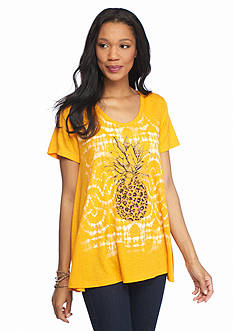 New Directions Weekend Mesh Back Pineapple Screen Tee
