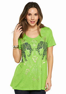 New Directions Weekend Mesh Back Elephant Screen Tee