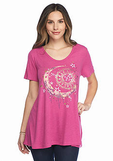 New Directions Weekend Mesh Back Celestial Screen Tee