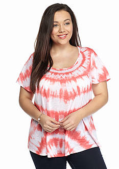 New Directions Weekend Plus Size Tie-Dye Top