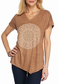 New Directions Weekend Faux Suede Medallion Print Top