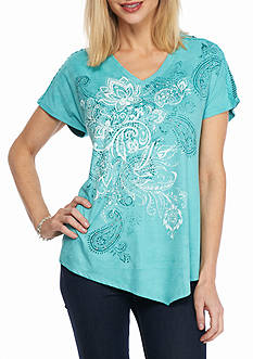 New Directions Weekend Faux Suede Aztec Print Top