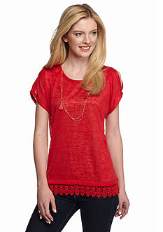 New Directions Weekend Crochet Cold Shoulder Necklace Top