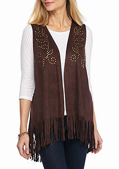 New Directions Weekend Faux Suede Studded Fringe Vest