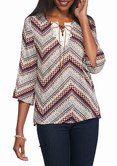 New Directions Weekend Chevron Crochet Lace Up Top