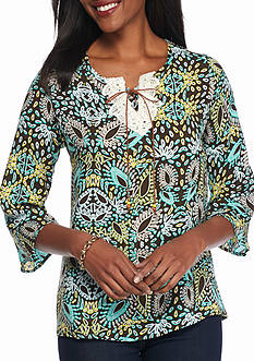 New Directions Weekend Paisley Crochet Lace Up Top