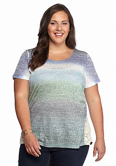 New Directions Weekend Plus Size Ombre Crochet Side Tee