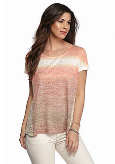 New Directions Weekend Ombre Stripe Lace High Low Top