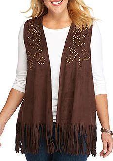 New Directions Weekend Plus Size Fringe Stud Vest