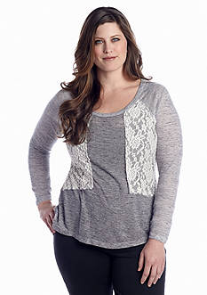 New Directions® Weekend Plus Size Lace Front Sweatshirt