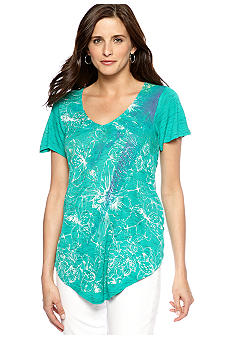 New Directions Weekend Butterfly Sleeve Printed Tee