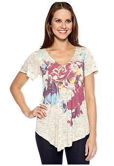 New Directions Weekend Butterfly Sleeve Floral Printed Tee