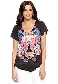 New Directions Weekend Butterfly Sleeve Floral Tee