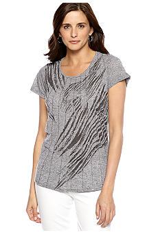 New Directions Weekend High Low Zebra Print Tee