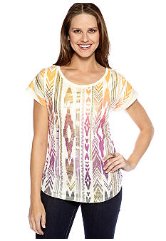 New Directions Weekend Printed Sequin Burnout Tee