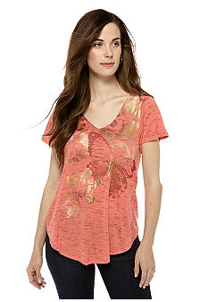 New Directions Weekend Petite Butterfly Print Tee with Lace Back