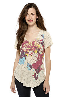 New Directions Weekend Petite Floral Print Tee with Lace Back
