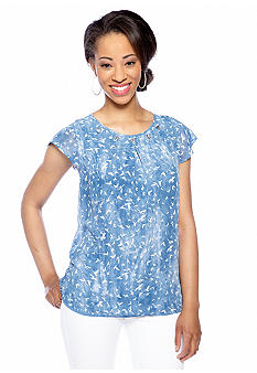 New Directions Petite Flutter Sleeve Bird Print Top with Gemstone Neckline